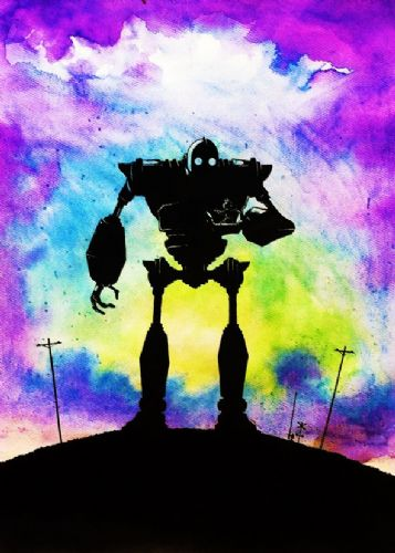 1990's Movie - THE IRON GIANT - PAINT ART canvas print - self adhesive poster - photo print